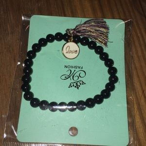 NEW black love charm and tassel bracelet